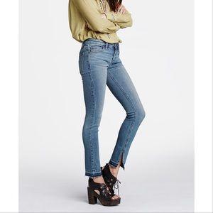 Free People Low Rise Slit Raw Hem Skinny Jean